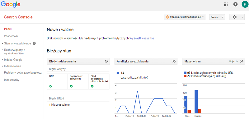 panel główny google search console