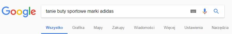 przykład długiego ogona w wyszukiwarce google