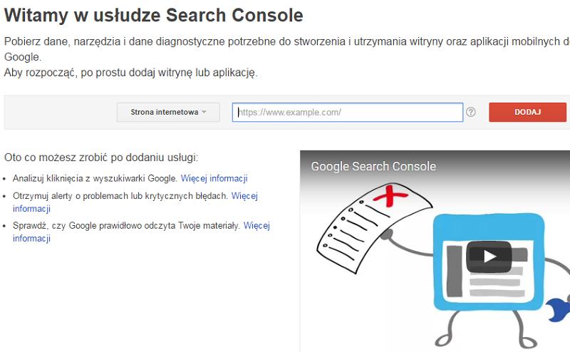 witamy w usłudze google search console