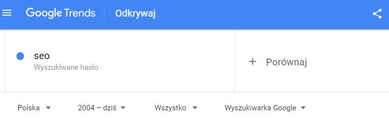 wpisana fraza w google trends