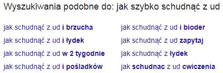 wyszukiwania podobne w wyszukiwarce google