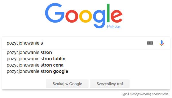 automatyczne podpowiedzi google dla frazy pozycjonowanie