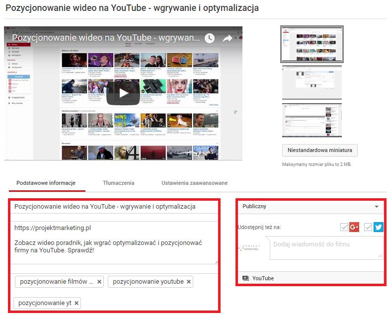 pozycjonowanie wideo na youtube