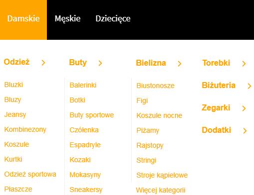 podział kategorii i podkategorii z rozbiciem na płeć