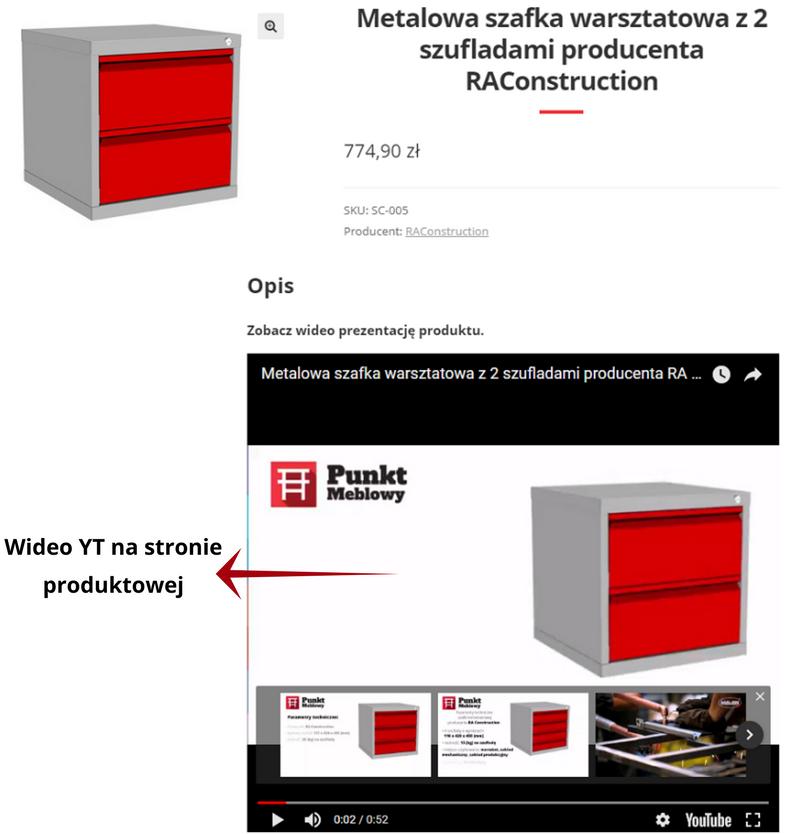 wideo yt na stronie produktowej