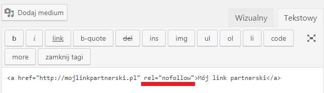 rel nofollow link partnerski