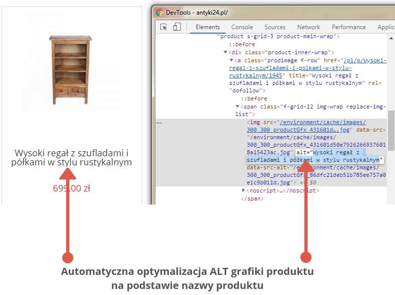 automatyczna optymalizacja alt obrazu w sklepach internetowych na podstawie nazwy produktu