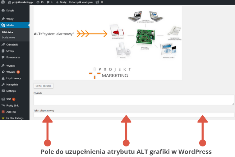 pole do uzupełnienia atrybutu alt w wordpress