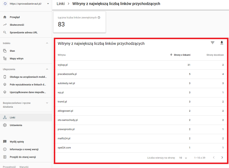 linki z google search console